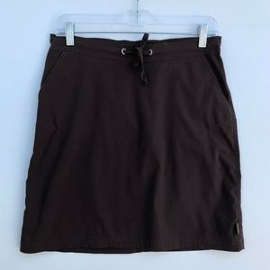 prAna Stretchy Mini Skirt Brown Drawstring #1341